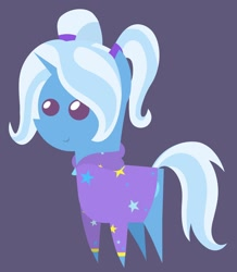 Size: 1280x1470 | Tagged: safe, artist:egor418, trixie, pony, unicorn, alternate hairstyle, babysitter trixie, clothes, dark background, hoodie, pointy ponies, simple background, solo