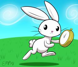 Size: 1000x867 | Tagged: safe, artist:empyu, angel bunny, rabbit, 30 minute art challenge, alice in wonderland, animal, pocket watch, refference, running, white rabbit