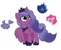 Size: 5080x4163 | Tagged: safe, artist:lazuli, artist:tenderrain46, pinkie pie, princess luna, oc, alicorn, earth pony, pony, absurd resolution, female, magical lesbian spawn, mare, offspring, parent:pinkie pie, parent:princess luna, parents:lunapie, simple background, transparent background