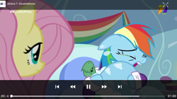Size: 540x303 | Tagged: safe, screencap, fluttershy, rainbow dash, tank, tanks for the memories, azteca 7, crying, pet, tv azteca