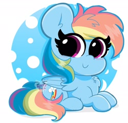 Size: 2048x1972   Tagged: safe, artist:kittyrosie, rainbow dash, pegasus, pony, chest fluff, cute, dashabetes, female, looking at you, mare, prone, smiling, smol, solo, weapons-grade cute