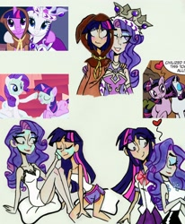Size: 2510x3049   Tagged: safe, artist:citi, screencap, clover the clever, princess platinum, rarity, twilight sparkle, human, unicorn, hearth's warming eve (episode), look before you sleep, babydoll, babydoll lingerie, blushing, clothes, comic, dress, humanized, implied lesbian, implied rarilight, implied shipping, mud mask, nightgown, pajamas, scene interpretation, screencap reference