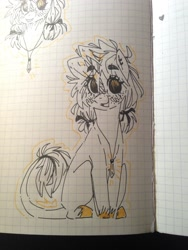 Size: 1536x2048 | Tagged: safe, artist:madkadd, oc, oc only, pony, unicorn, blushing, bust, colored hooves, graph paper, horn, jewelry, necklace, partial color, sitting, smiling, traditional art, unicorn oc