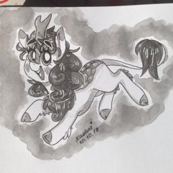 Size: 1280x1280 | Tagged: safe, artist:madkadd, autumn blaze, kirin, cloven hooves, female, horn, leonine tail, open mouth, signature, smiling, solo, traditional art
