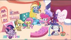 Size: 1366x768 | Tagged: safe, screencap, applejack, fluttershy, pinkie pie, rainbow dash, rarity, twilight sparkle, alicorn, earth pony, pegasus, pony, unicorn, badge of shame, my little pony: pony life, spoiler:pony life s01e13, chef's hat, chubby cheeks, crying, cupcake, double chin, fat, female, food, hat, mane six, mare, nose in the air, ocular gushers, oven, twilard sparkle, twilight sparkle (alicorn), weight gain
