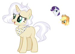 Size: 2699x1937 | Tagged: safe, artist:sapphiretwinkle, applejack, rarity, pony, unicorn, female, lesbian, magical lesbian spawn, mare, offspring, parent:applejack, parent:rarity, parents:rarijack, rarijack, shipping, simple background, transparent background