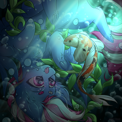 Size: 3000x3000 | Tagged: safe, artist:rico_chan, oc, oc:steam loco, fish, pegasus, pony, air bubble, bubble, commission, pegasus oc, solo, tongue out, underwater, wings, ych result