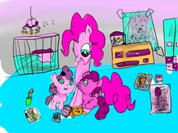 Size: 1080x810 | Tagged: safe, artist:bellas.den, pinkie pie, oc, earth pony, pony, baby, baby pony, female, indoors, mare, sitting