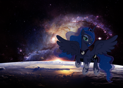 Size: 1920x1380   Tagged: safe, princess luna, alicorn, pony, cute, female, flying, galaxy, looking at you, lunabetes, mare, photoshop, planet, smiling, smiling at you, solo, space, spread wings, stars, wings