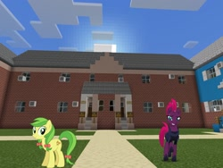 Size: 2048x1536 | Tagged: safe, artist:eugenebrony, artist:jhayarr23, artist:topsangtheman, apple fritter, tempest shadow, earth pony, pony, unicorn, apple family member, house, looking at you, minecraft, photoshopped into minecraft