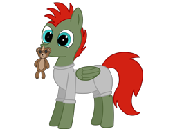 Size: 4032x3016 | Tagged: safe, artist:rainbowšpekgs, oc, oc only, oc:jet lag, pegasus, pony, clothes, commission, happy, male, plushie, simple background, solo, teddy bear, transparent background, wings