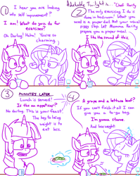 Size: 4779x6013 | Tagged: safe, artist:adorkabletwilightandfriends, rarity, twilight sparkle, alicorn, comic:adorkable twilight and friends, adorkable, comic, conversation, cute, discussion, dork, exercise, food, friendship, grape, humor, lettuce, magic, plate, slice of life, twilight is not amused, twilight sparkle (alicorn), unamused, weight, weight loss