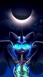 Size: 1866x3304 | Tagged: safe, artist:redmn, nightmare moon, alicorn, pony, female, frown, glare, mare, moon, night, sky, solo, stars, sword, warrior luna, weapon