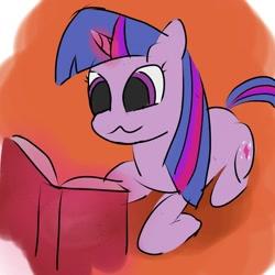 Size: 1076x1076   Tagged: safe, artist:chocodamai, twilight sparkle, book, digital art, magic, reading, solo