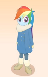 Size: 1000x1600 | Tagged: safe, artist:chocodamai, rainbow dash, equestria girls, clothes, cute, dashabetes, fashion, solo, winter, younger