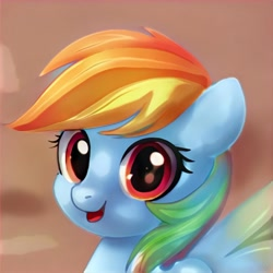 Size: 1024x1024 | Tagged: safe, artist:thisponydoesnotexist, pegasus, pony, artificial intelligence, bust, cute, female, looking at you, neural network, not rainbow dash, open mouth, portrait, simple background, solo