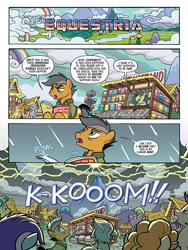 Size: 768x1024 | Tagged: safe, artist:tonyfleecs, idw, coco pommel, daisy, flower wishes, lyra heartstrings, quibble pants, roseluck, spoiler:comic, spoiler:friendship in disguise, spoiler:friendship in disguise01, comic, imminent crossover, imminent invasion, lightning, moments before disaster, rant
