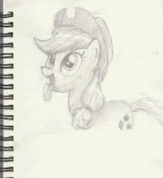 Size: 1246x1360 | Tagged: safe, artist:chocodamai, applejack, behaving like a dog, cowboy hat, hat, panting, pencil drawing, solo, tongue out, traditional art