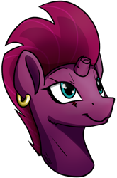 Size: 1764x2680 | Tagged: safe, artist:topicranger, fizzlepop berrytwist, tempest shadow, pony, blue eyes, broken horn, ear piercing, earring, happy, horn, jewelry, looking up, piercing, scar, simple background, solo, transparent background