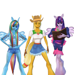 Size: 2003x2048 | Tagged: safe, artist:monstermaster13, applejack, rainbow dash, twilight sparkle, anthro, human, 3d, book, humanized, simple background, transparent background, trio