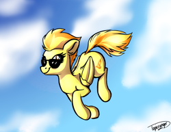 Size: 3176x2456 | Tagged: safe, artist:topicranger, spitfire, pegasus, pony, artist training grounds 2020, cloud, cloudy, flying, happy, looking up, newbie artist training grounds, orange eyes, orange mane, signature, sky, smiling, solo, sunglasses, wings, yellow, yellow eyes
