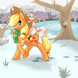 Size: 1000x1000   Tagged: safe, artist:koportable, applejack, oc, oc:griff, earth pony, original species, pony, applejack's hat, clothes, cowboy hat, cute, duo, female, hair over one eye, hat, hoofprints, jackabetes, looking at you, mare, non-mlp oc, raised hoof, riding, scarf, smiling, snow, tree, walking, winter