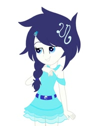 Size: 1080x1350   Tagged: safe, artist:rinbow_dah, oc, oc only, equestria girls, bedroom eyes, clothes, female, grin, simple background, skirt, smiling, solo, white background