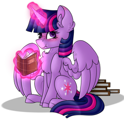 Size: 902x869 | Tagged: safe, artist:king-justin, twilight sparkle, alicorn, blushing, book, bookhorse, chest fluff, cute, ear fluff, female, magic, mare, scrunchy face, simple background, solo, telekinesis, transparent background, twiabetes, twilight sparkle (alicorn)