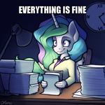 Size: 600x600 | Tagged: safe, artist:ohemo, edit, princess celestia, alicorn, anthro, atg 2020, blatant lies, caption, cute, cutelestia, image macro, lamp, meme, newbie artist training grounds, paper, paperwork, text, this is fine, thousand yard stare