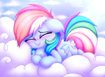 Size: 2700x2000 | Tagged: safe, artist:heavymetalbronyyeah, rainbow dash, pegasus, pony, :p, blushing, chest fluff, cloud, cute, dashabetes, ear fluff, eyes closed, high res, leg fluff, on a cloud, prone, sleeping, solo, tongue out, weapons-grade cute