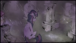 Size: 1920x1080 | Tagged: safe, artist:urbanqhoul, sunset shimmer, twilight sparkle, pony, unicorn, grave, rain, sad, tombstones