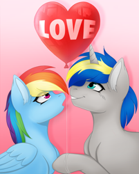 Size: 3779x4694 | Tagged: safe, artist:bellfa, rainbow dash, oc, oc:dopami korpela, pegasus, unicorn, balloon, canon x oc, commission, dopadash, female, heart, holiday, horn, love, male, mare, shipping, stallion, straight, unicorn oc, valentine's day, ych result