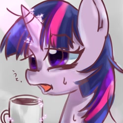 Size: 768x768 | Tagged: safe, artist:tomizawa96, twilight sparkle, pony, bust, coffee, coffee mug, lidded eyes, magic, messy mane, mug, solo, telekinesis, tired