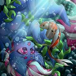 Size: 3000x3000 | Tagged: safe, artist:rico_chan, oc, fish, koi, pegasus, bubble, chibi, commission, ocean, underwater, water, ych result