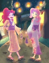 Size: 2550x3300 | Tagged: safe, artist:pettypop, fluttershy, kimono, pinkie pie, equestria girls, clothes, festival, kimono (clothing), lantern, one eye closed, open mouth