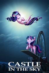 Size: 1280x1920 | Tagged: safe, artist:symbianl, starlight glimmer, twilight sparkle, pony, unicorn, castle in the sky, crossover, parody, studio ghibli, unicorn twilight