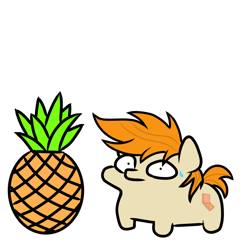 Size: 1000x1000 | Tagged: safe, artist:pizzamovies, oc, oc only, oc:pizzamovies, food, looking at you, pineapple, shrunken pupils, solo, squatpony, sweat