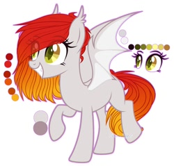 Size: 2255x2160 | Tagged: safe, artist:midnight, oc, oc only, oc:bellfa, bat pony, pony, bat pony oc, bat wings, cutie mark, ear fluff, female, fullbody, gradient hair, green eyes, raised eyebrow, raised leg, red hair, simple background, smiling, smirk, solo, wings