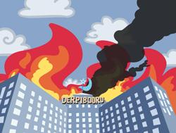 Size: 1425x1080 | Tagged: safe, artist:threetwotwo32232, derpibooru exclusive, trixie, derpibooru, the end of derpibooru, building, cutie mark, fire, meta, no pony, smoke