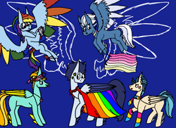 Size: 1235x900 | Tagged: safe, artist:cococandy2007, indigo zap, lightning dust, night glider, rainbow dash, soarin', pegasus, pony, alternate hairstyle, asexual, asexual pride flag, bandana, blue background, cape, choker, clothes, ear piercing, earring, equestria girls ponified, face paint, female, flying, gay pride flag, headband, jewelry, lesbian pride flag, male, mare, necklace, pansexual, pansexual pride flag, piercing, ponified, pride, pride flag, pride month, pride ponies, raised hoof, raised leg, scarf, simple background, socks, stallion, striped socks, tongue out