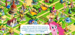 Size: 2312x1080 | Tagged: safe, screencap, pinkie pie, rarity, sapphire shores, starlight glimmer, breaking the fourth wall, fourth wall, gameloft, gameloft shenanigans, pinkie being pinkie, ponyville