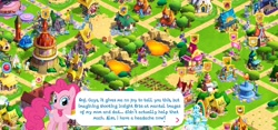 Size: 2312x1080 | Tagged: safe, screencap, cheese sandwich, fluttershy, pinkie pie, breaking the fourth wall, fourth wall, gameloft, gameloft shenanigans, pinkie being pinkie, ponyville