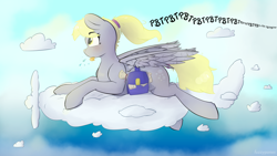 Size: 1920x1080 | Tagged: safe, artist:fuzzypones, derpy hooves, pegasus, pony, :p, bag, blushing, cloud, female, flying, mail, mailmare, mare, onomatopoeia, plane, raspberry, raspberry noise, saddle bag, sky, solo, text, tongue out