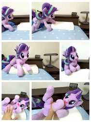 Size: 960x1280 | Tagged: safe, artist:nekokevin, starlight glimmer, human, pony, unicorn, series:nekokevin's glimmy, alarm clock, bed, bellyrubs, clock, cute, female, glimmerbetes, hand, imminent belly rub, irl, irl human, looking at something, mare, open mouth, photo, pillow, plushie, prone, smiling, underhoof