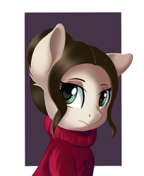 Size: 1354x1663 | Tagged: safe, artist:qbellas, oc, oc only, pony, bust, clothes, simple background, solo, sweater