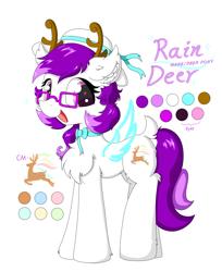 Size: 2011x2461 | Tagged: safe, artist:fireworks sea, oc, oc:rain deer, deer, deer pony, original species, pony, reference sheet