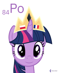 Size: 4000x5000 | Tagged: safe, artist:parclytaxel, twilight sparkle, alicorn, pony, series:joycall6's periodic table, .svg available, absurd resolution, bust, chemistry, crown, female, flag, france, jewelry, looking at you, mare, marie curie, periodic table, pitchblende, poland, polonium, portrait, regalia, simple background, smiling, solo, twilight sparkle (alicorn), vector, white background