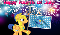Size: 2064x1204   Tagged: safe, artist:not-yet-a-brony, flash sentry, 4th of july, armor, banner, equestrian flag, fireworks, flag, flag pole, flag waving, holiday, independence day, patriotic, patriotism, royal guard, royal guard armor, spear, weapon