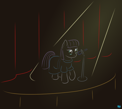Size: 888x797 | Tagged: safe, artist:quint-t-w, maud pie, earth pony, pony, atg 2020, clothes, curtain, female, gradient background, microphone, minimalist, modern art, newbie artist training grounds, raised hoof, solo, spotlight, stage