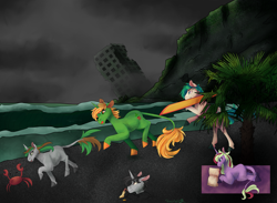 Size: 2725x2000   Tagged: safe, artist:shirofluff, surf, crab, earth pony, pony, unicorn, 5, beach, book, building, characters, cliff, commission, earth, finished commission, foe, fog, palm tree, sand, tree, water, wave